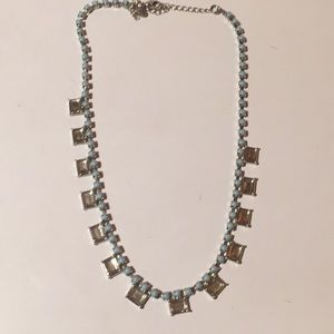 Lia Sophia pale blue bead necklace 16-18""